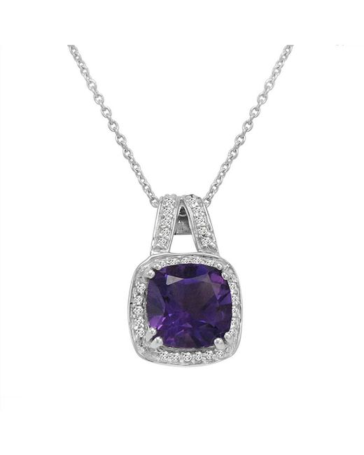 Amanda Rose Collection - Purple Cushion Cut Amethyst And White Topaz Pendant-necklace In Sterling Silver - Lyst