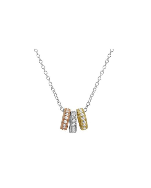 Amanda Rose Collection - Metallic Amanda Rose Tri-tone Three Ring Pendant-necklace In Sterling Silver On An 18 In. Chain - Lyst
