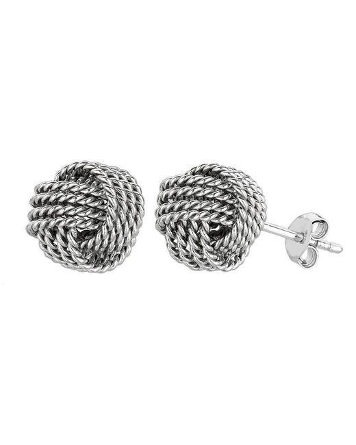 JewelryAffairs - White Sterling Silver Rhodium Finish 9mm Twisted Cable Love Knot Earrings - Lyst