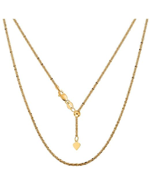 JewelryAffairs | 10k Yellow Gold Adjustable Sparkle Link Chain Necklace, 1.5mm, 22 Inch | Lyst