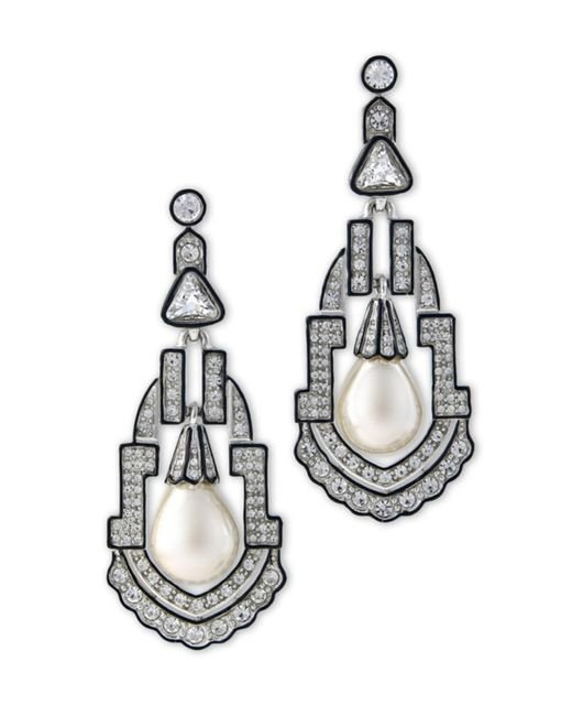 Kenneth Jay Lane - Metallic Women's Silver/pear/crystal Earring - Lyst