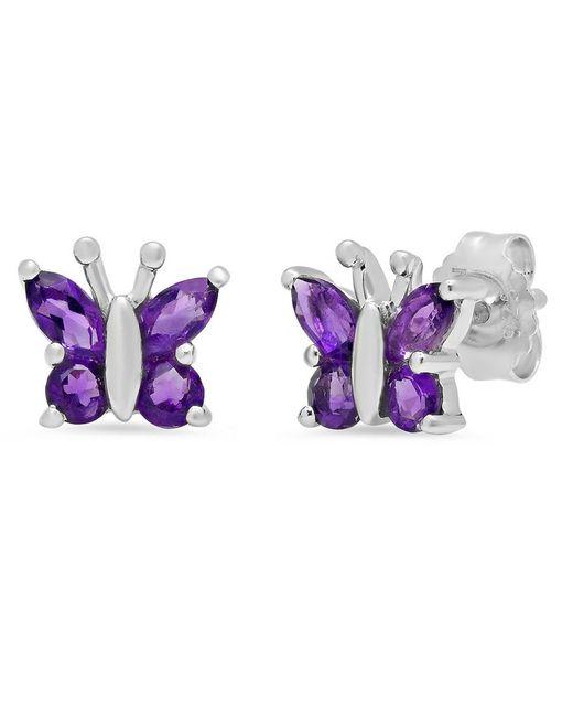 Amanda Rose Collection - Purple Sterling Silver Amethyst Butterfly Stud Earrings - Lyst