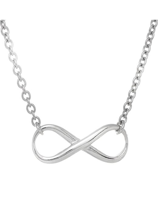 JewelryAffairs - White Infinity Sign Link Necklace In Sterling Silver, 18 - Lyst