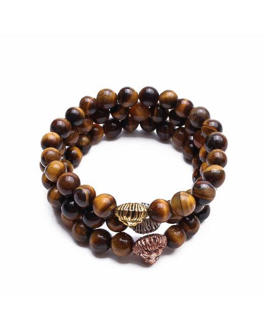 Something Strong - Brown Bundle Of 3 Beaded Zinc Alloy Lion Bracelets - Lyst