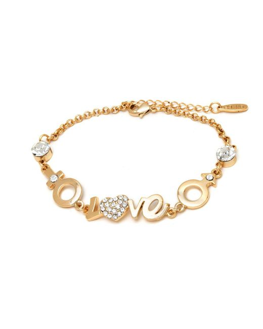 Peermont - Metallic Gold And Swarovski Elements Script Love Heart Bracelet - Lyst