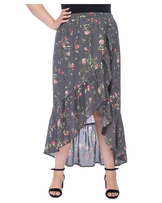 Bobeau - Blue Larz Plus Floral Skirt - Lyst
