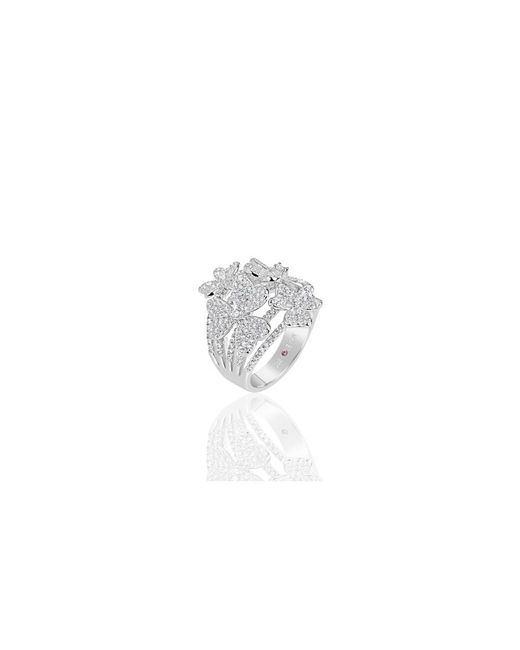 Suzy Levian - White Sterling Silver Cubic Zirconia Multi Flower Ring - Lyst
