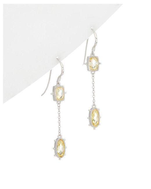 Judith Ripka - Metallic Silver Cz Drop Earrings - Lyst