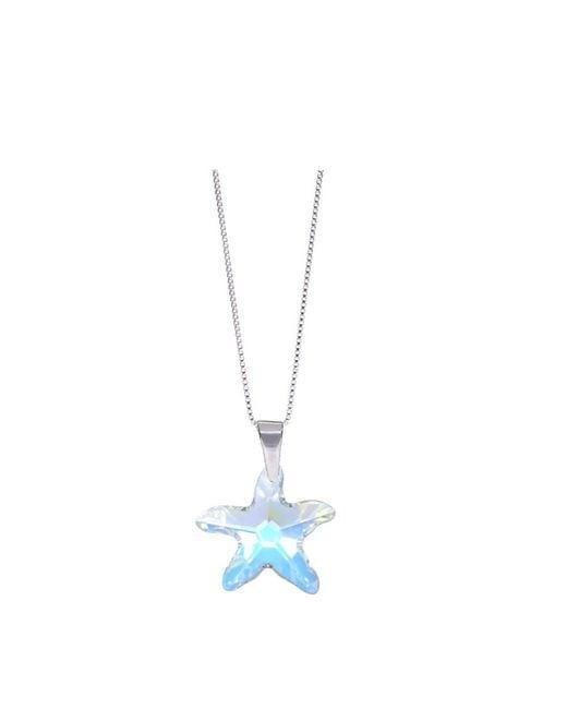 Barzel - Metallic Swarovski Ab Star Fish Pendant In Sterling Silver - Lyst