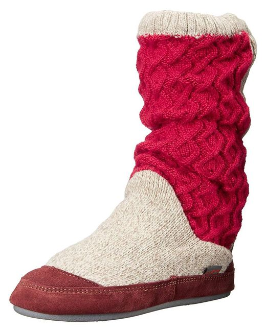 Acorn - Red Slouch Boot (charcoal Cable Knit) Women's Slippers - Lyst