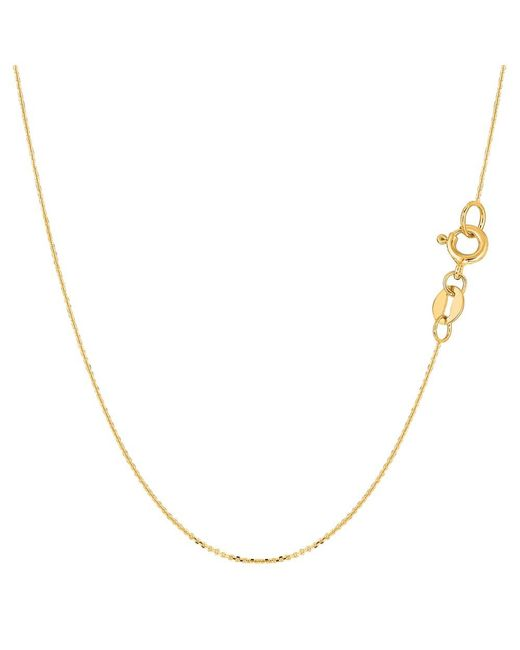 JewelryAffairs - 14k Yellow Gold Cable Link Chain Necklace, 0.6mm, 18 Inch - Lyst