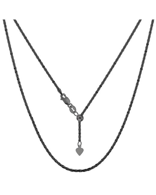 """JewelryAffairs - White Sterling Silver Black Ruthenium Plated 22"""" Sliding Adjustable Sparkle Chain Necklace, 1.5mm - Lyst"""