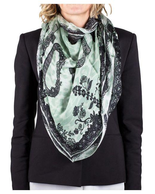 Roberto Cavalli | Green Women's Lace Floral Animal Print Silk Scarf Large | Lyst