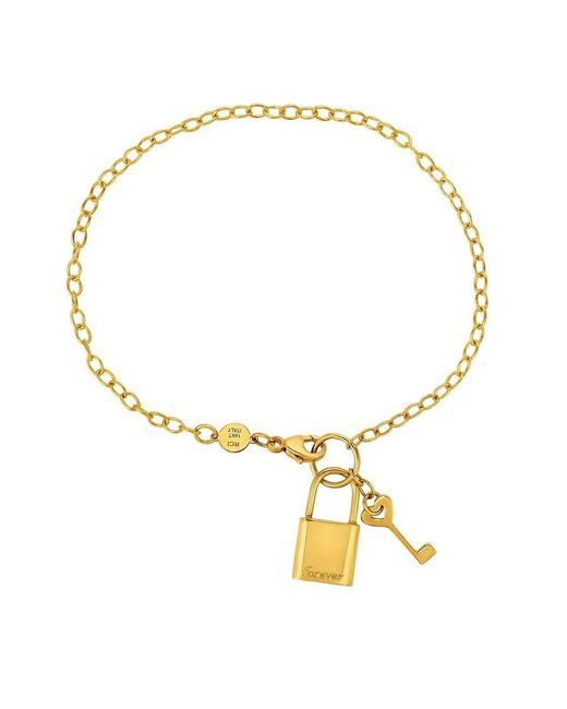 JewelryAffairs - 14k Yellow Gold Chain Lock And Key Bracelet, 7.5 - Lyst