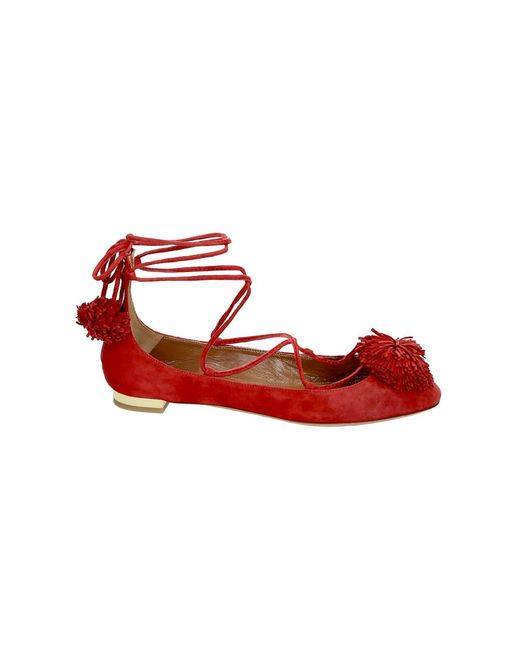 Aquazzura - Women's Red Leather Flats - Lyst