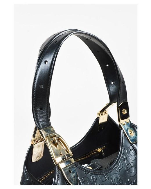 2035b6d0c ... Gucci - 1 Black Leather Top Handle Horsebit Embossed Satchel Bag - Lyst  ...