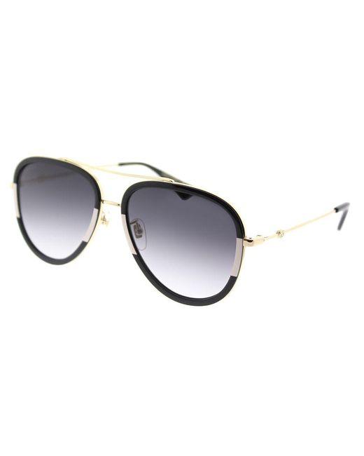 Gucci - GG0062S 006 Black/white Aviator Sunglasses - Lyst