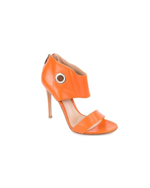 0e61791818b Lyst - Gianvito Rossi Orange Leather Grommet Sandal Heel in Orange