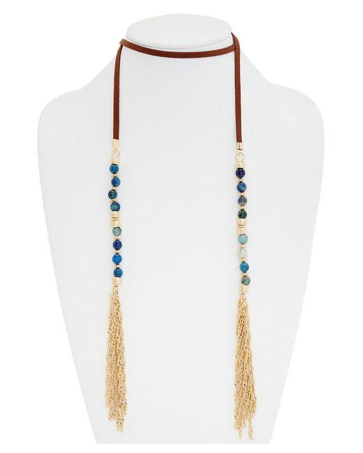 Madeline Elisabeth - Metallic Madeleine Elizabeth Agate Lariat Tassel 47in Choker Necklace - Lyst