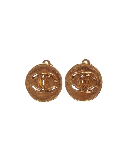 Chanel - Metallic Pre Owned- Gold Cc Disc Clip On Earrings - Lyst