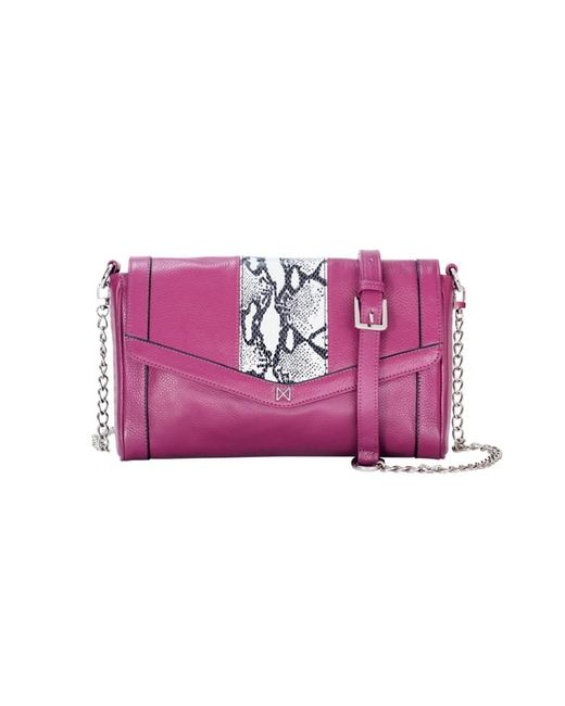 Mofe | Pink Pierian Convertible Crossbody-clutch-shoulder Bag With Snake-embossed Midsection And Chain Strap | Lyst