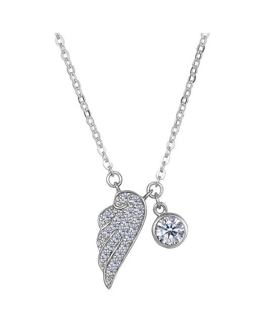 JewelryAffairs - White Sterling Silver Cz Angel Wing Charm Pendant Necklace, 18 - Lyst