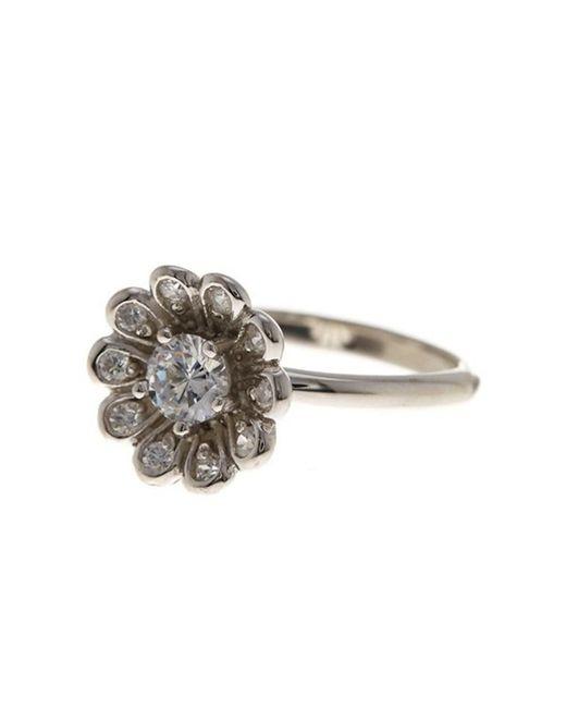 Adornia | Metallic Flower Power Ring Silver With Swarovski Crystal | Lyst