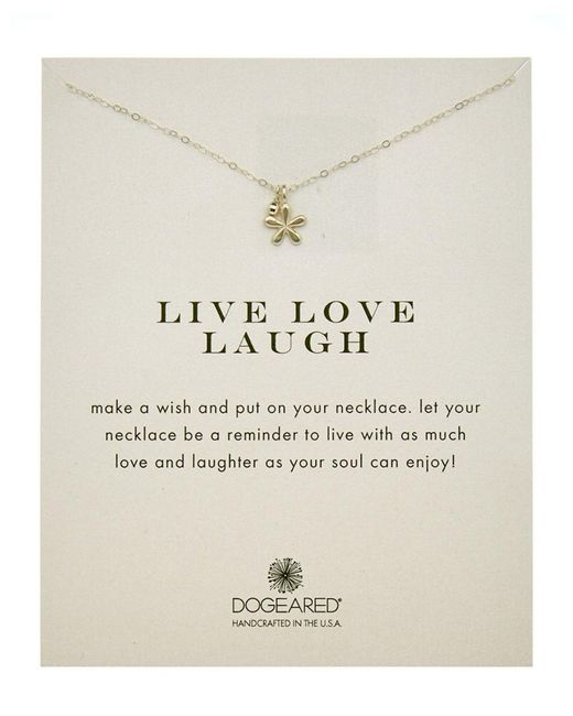 Dogeared - Metallic Silver Live Laugh Love Necklace - Lyst