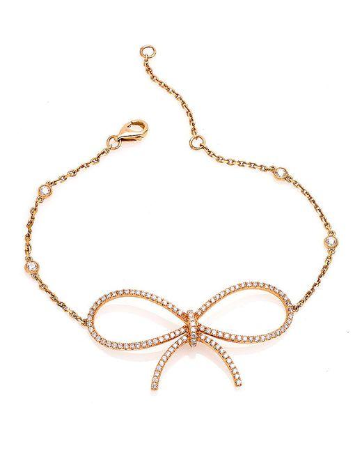 CR By Casa Reale | Metallic 18 K White Diamond Bow Chain Bracelet | Lyst