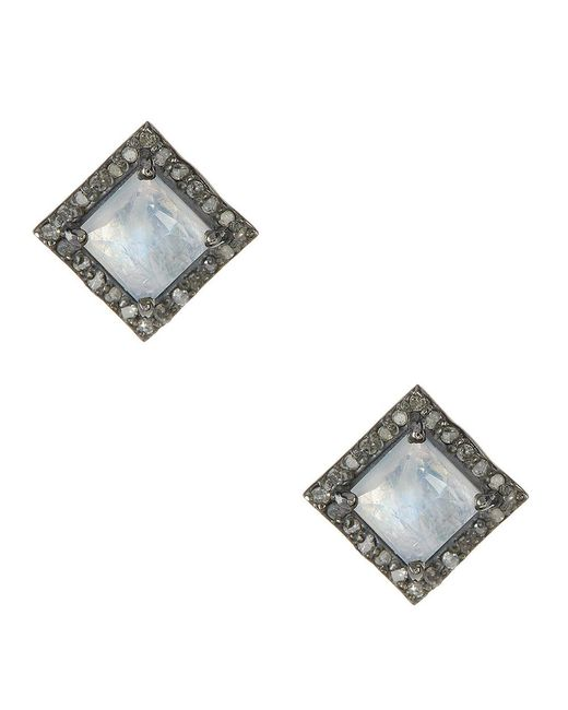 Adornia - Blue Moonstone And Champagne Diamond Millicent Stud Earrings - Lyst