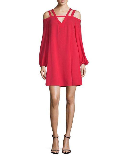 BCBGMAXAZRIA - Red Strappy Cold-shoulder Shift Dress - Lyst