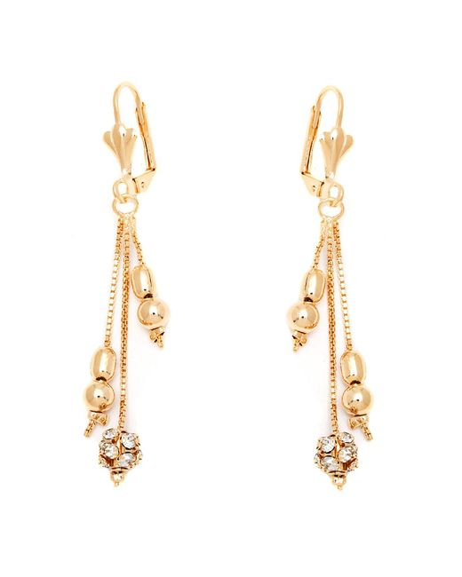 Peermont - Metallic Gold & Crystal Drop Earrings Made With Swarovski Elements - Lyst