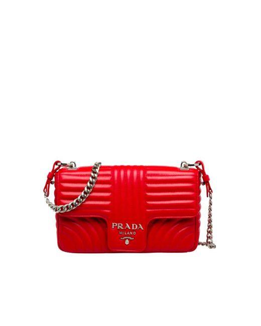 Prada - Women's Red Leather Shoulder Bag - Lyst