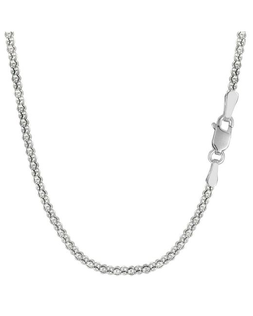 JewelryAffairs - White Sterling Silver Rhodium Plated Fancy Popcorn Rope Chain Necklace, 1,8mm, 20 - Lyst