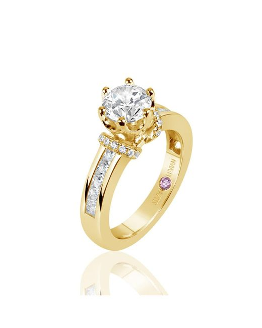 Suzy Levian - Metallic Golden Sterling Silver Cubic Zirconia Round Cut Engagement Ring - Lyst