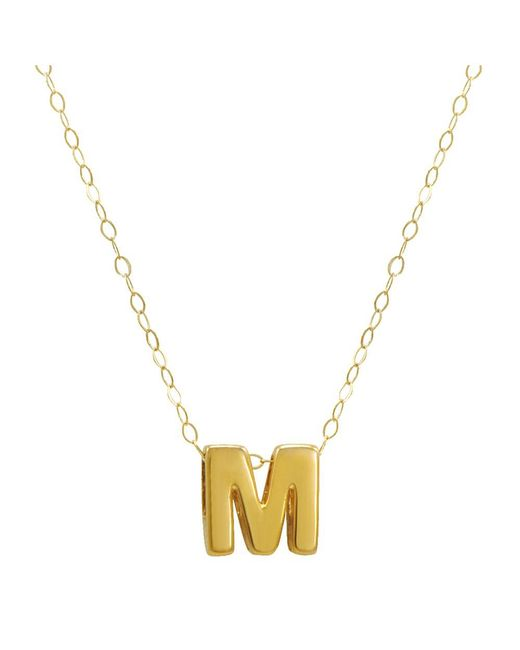 """Amanda Rose Collection - Metallic Amanda Rose 10k Yellow Gold Petite Initial """"m"""" Pendant-necklace On A 17 In. Chain - Lyst"""