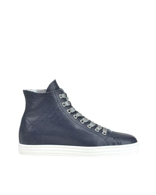 431cffbcbb6 Lyst - Hogan Rebel Women s Blue Leather Hi Top Sneakers in Blue