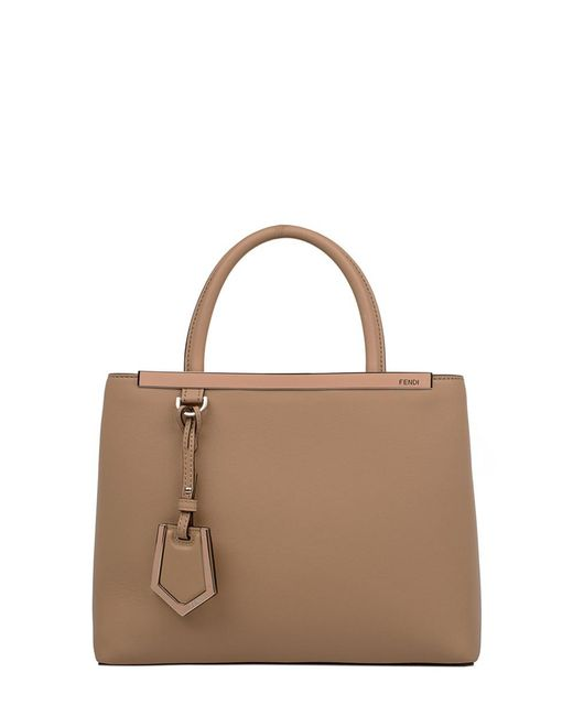 Fendi - Women's Beige/brown Leather Handbag - Lyst