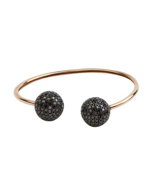 Socheec   Multicolor Top Open Black Diamond Ball Flexible Cuff   Lyst