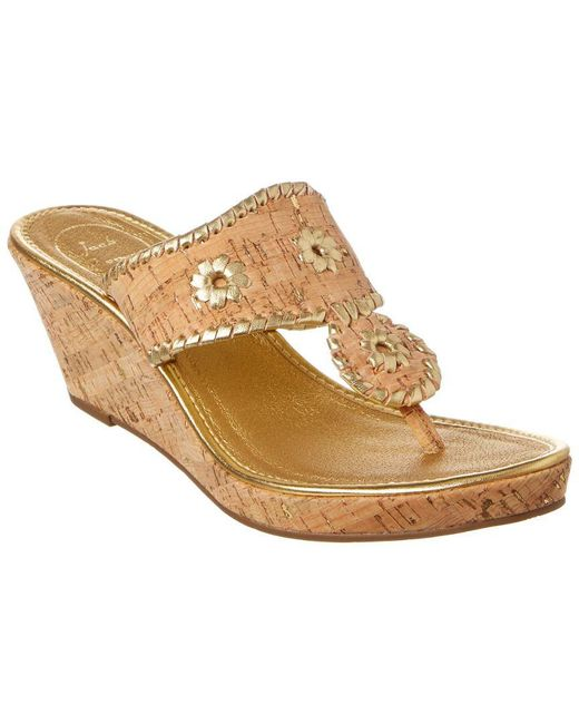 Jack Rogers - Multicolor Marbella Leather & Cork Wedge Sandal - Lyst