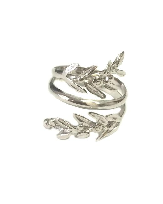 JewelryAffairs - White Sterling Silver Adjustable Olive Leafs Ring, Size 6 - Lyst
