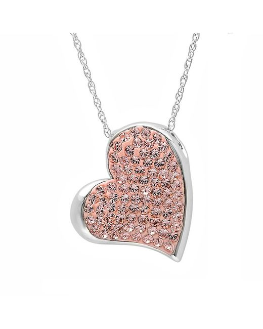 Amanda Rose Collection - Metallic Sterling Silver Heart Pendant-necklace With Swarovski Crystals - Lyst