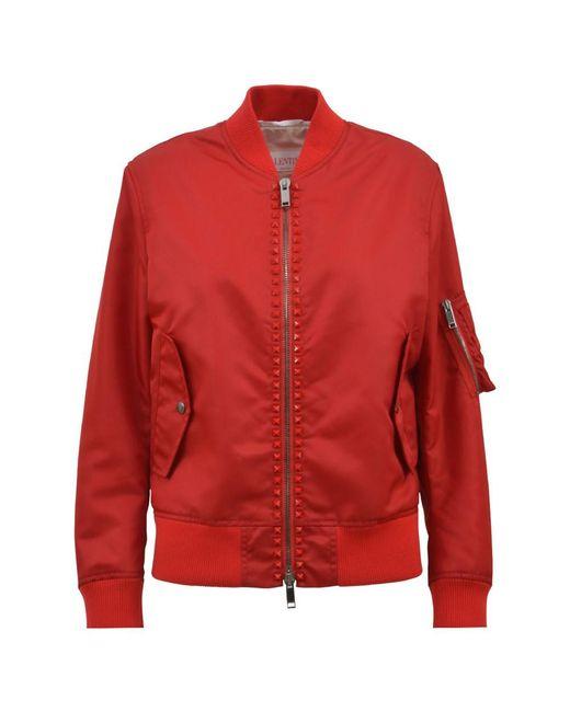 Valentino - Women's Red Polyamide Outerwear Jacket - Lyst