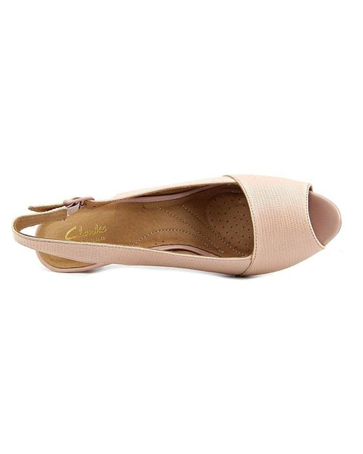 80f53ee3891d ... Clarks - Artisan Heavenly Leah Women Peep-toe Canvas Pink Slingback Heel  - Lyst ...