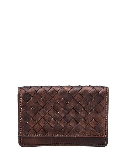 Bottega Veneta - Brown Intrecciato Leather Card Case - Lyst