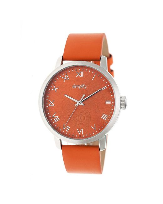 Simplify - Orange The 4200 Leather-band Watch for Men - Lyst