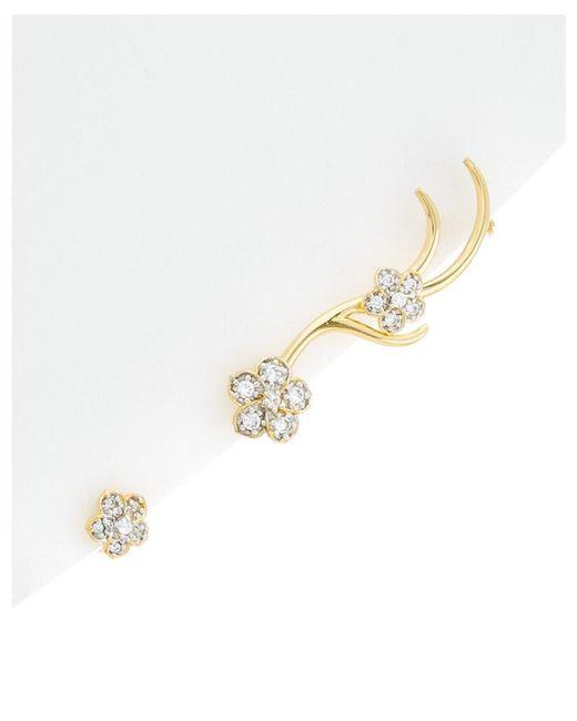 Noir Jewelry | Metallic 14k Cz Cuff & Stud Set | Lyst