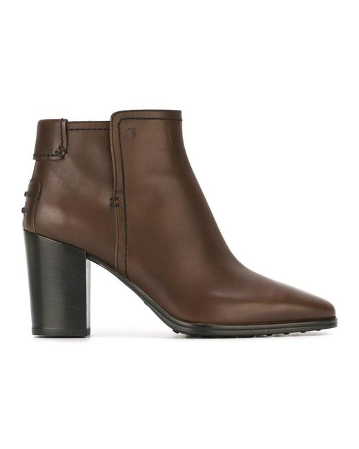 Tod's - Women's Brown Leather Ankle Boots ...