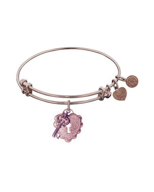 Angelica - Pink Stipple Finish Brass Key To My Heart Bangle Bracelet, 7.25 - Lyst