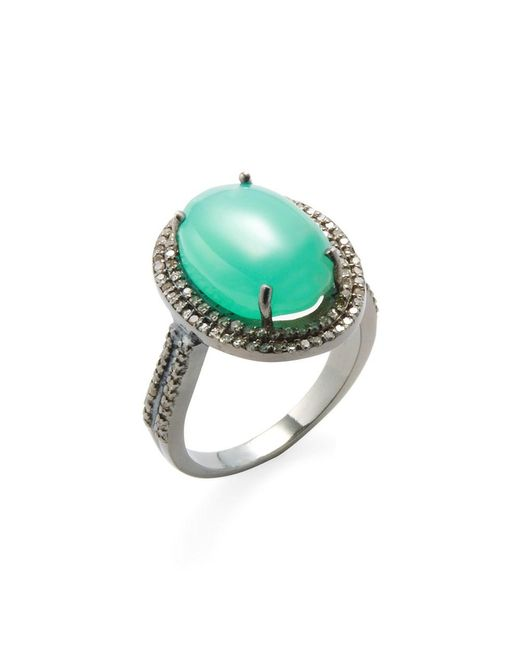 Adornia - Green Chrysoprase And Champagne Diamond Gemma Ring - Lyst